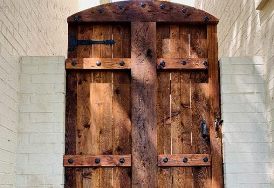 Cedar Plank Gate with Ornamental Iron